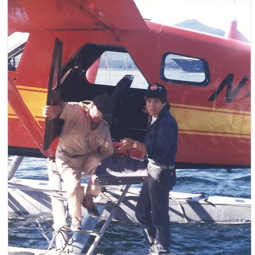 Helping my pax off the plane. Circa 1987