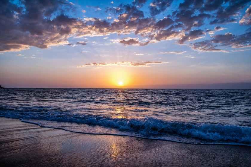 beach during sunset